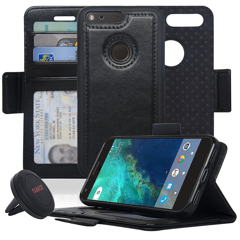 000538b152de Navor Detachable Magnetic Wallet Case for Google Pixel [RFID Protection]  [Logo Hole] [Vajio Series]-Black
