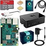 ABOX Raspberry Pi 3 B+ Starter Kit con Micro SD de 32GB Clase 10, 5V 3A Adaptador de Corriente con Interruptor, 2 Radiadores, Cable HDMI, Caja de Calidad, Lector de Tarjetas, Caja Negro