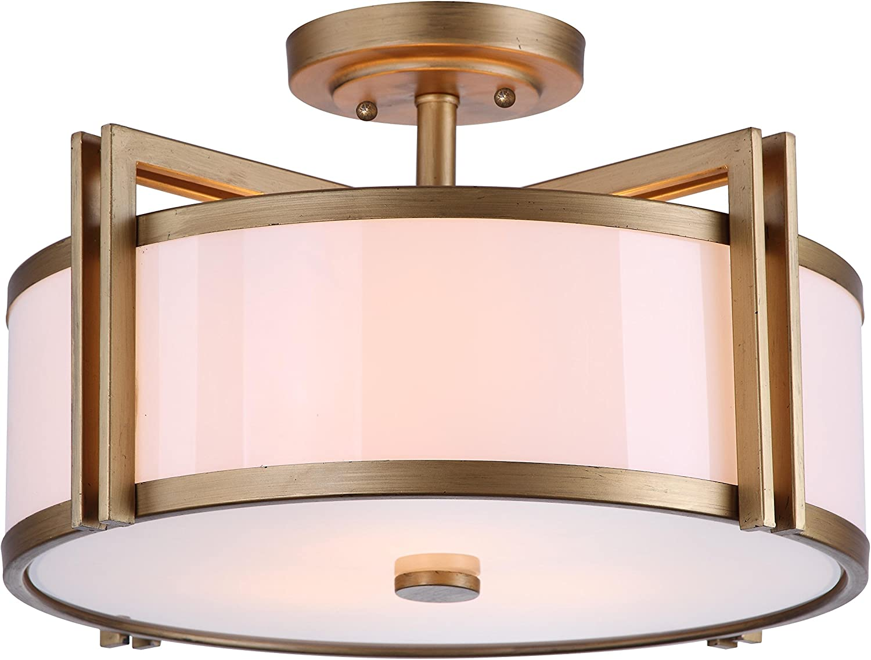 Safavieh Lighting Collection Orb Antique Gold 10 25 Inch Semi Flush Ceiling Light Home Kitchen Amazon Com