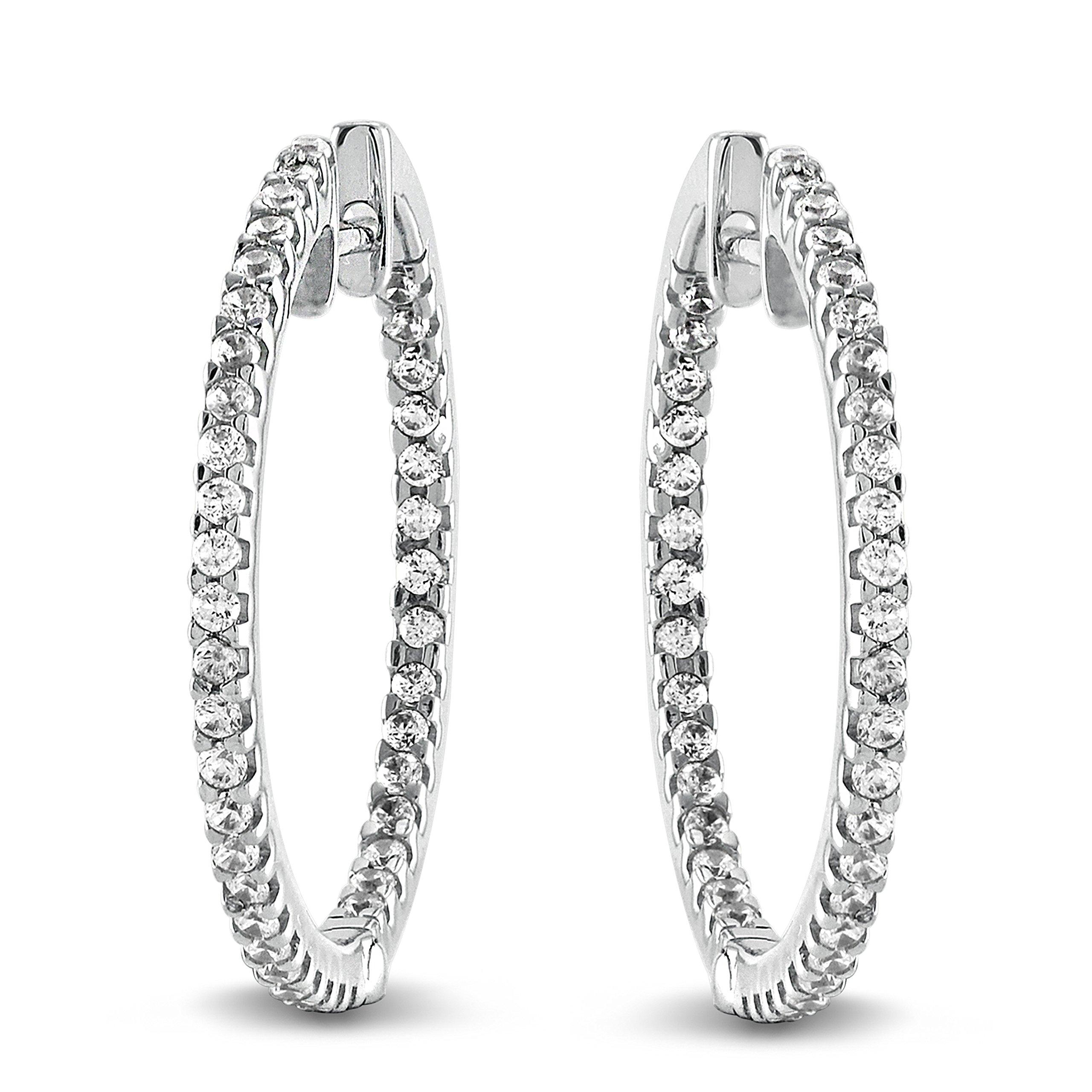 0.50 Ct. Natural Diamond Hoop Earrings 10K White Gold for Women (GH-I2I3)