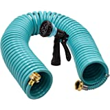 AUTOMAN-Garden-Water-Hose-Recoil,50 Feet EVA Curly Water Hose with Brass Connectors,Watering Hose Coil,Includes 7…