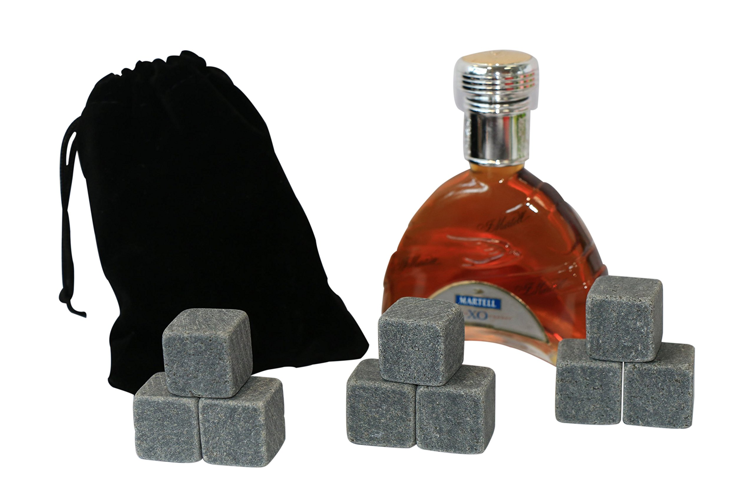 Vina Whiskey Wine Chiller Stones Set, 9 Premium Chilling Ice Rocks for Beer Bourbon etc. Chill Any Beverage Without Diluting It, with a Black Storage Pouch,Dark Grey