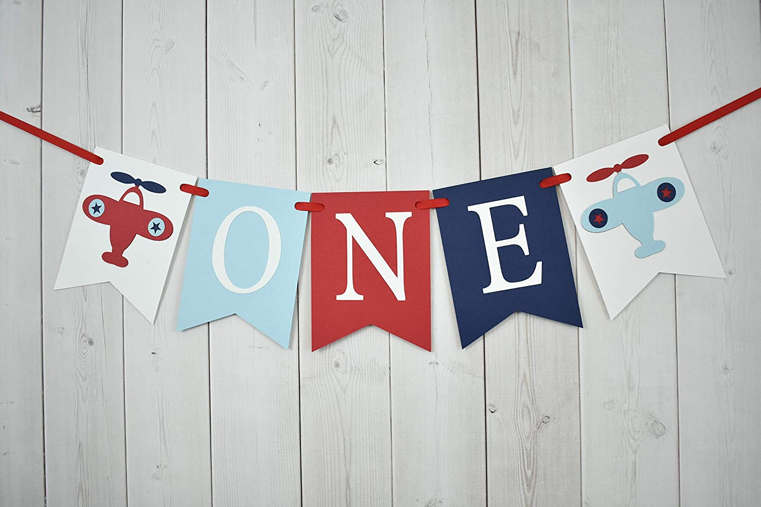 Airplane Plane ONE Age High Chair Birthday Party Banner Sign Navy Blue Red Transportation