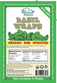 product image for Blue Mountain Organics, Raw, Vegan, Paleo, Organic Basil Wraps (4 wraps), 5.5oz (156 g)