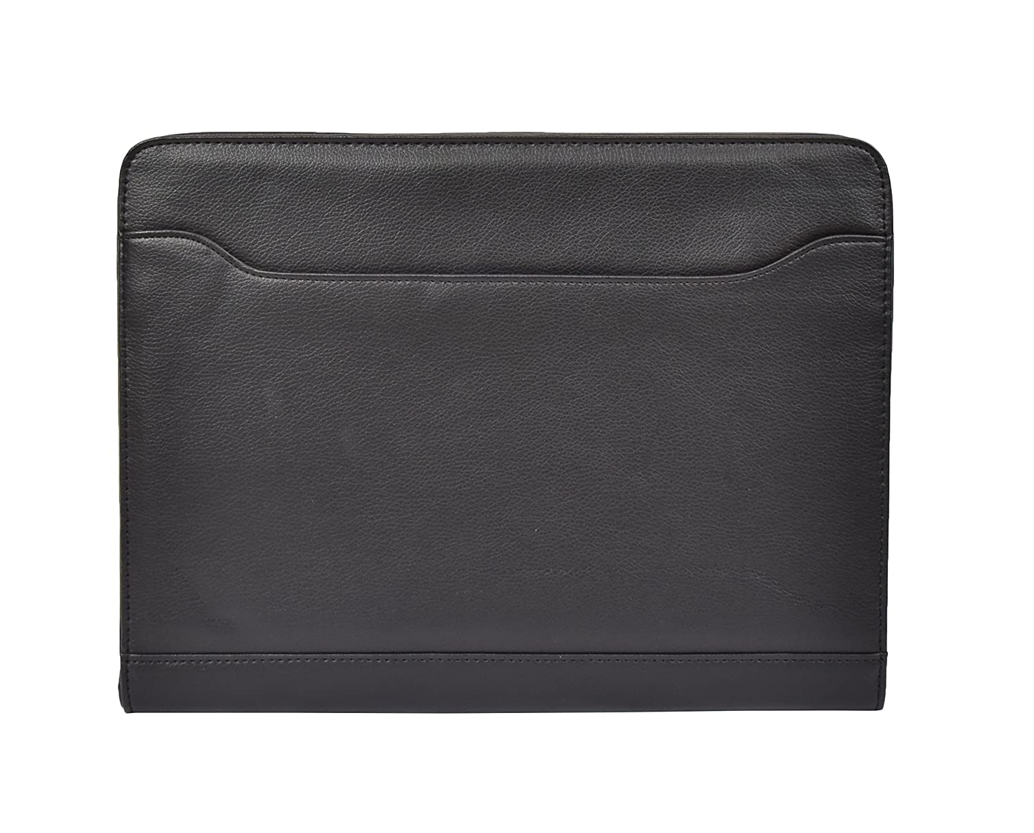 A4 Leather Look Underarm Zip Around Black Folio Bag With Calculator And Notepad - Caleb Caleb Black