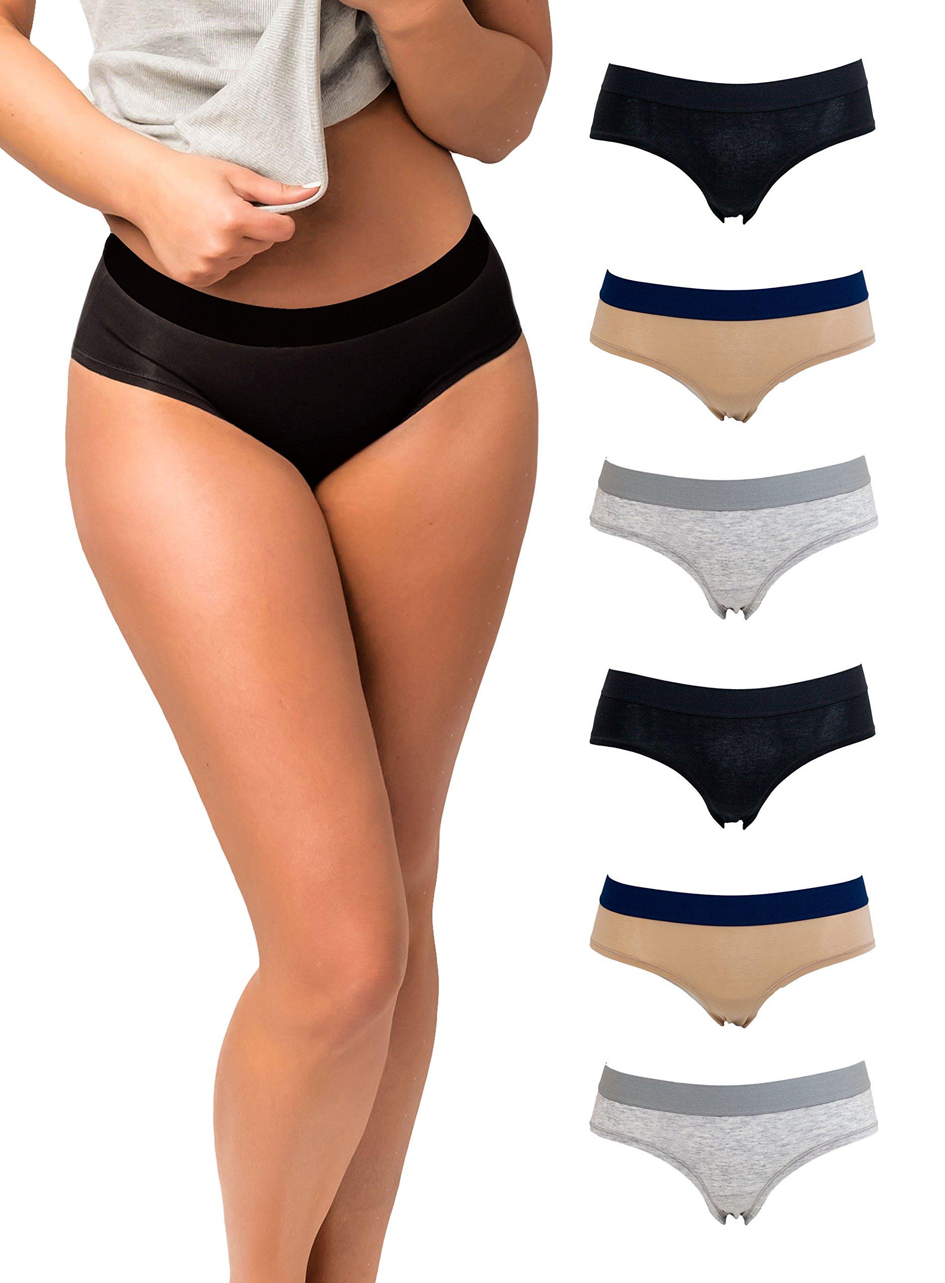 14a5f201b42f Emprella Womens Underwear Cotton, Women 6 Pack Hipster Ladies Panties, Size  S-XL Panty