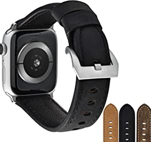 Bullstrap Men's Full-Grain Italian Leather Watch Band Compatible with Apple Watch Series 1-6, 44mm-42mm, Black Edition with Silver Hardware