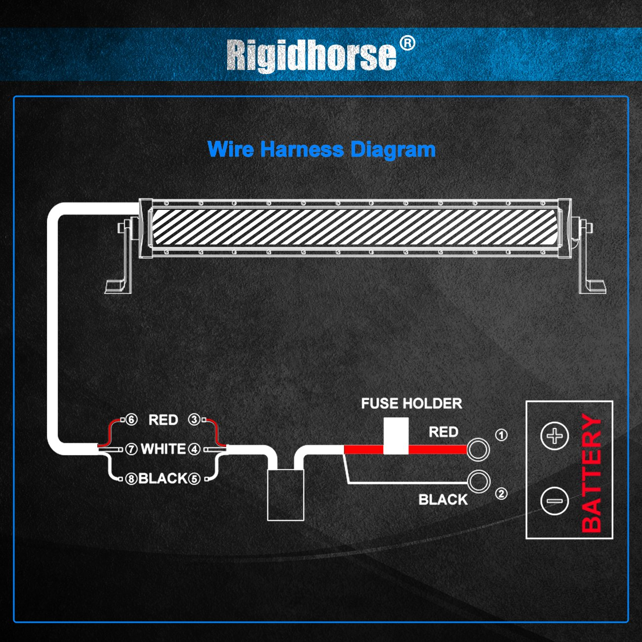Led Light Bar Wiring Harness Rigidhorse Remote Control Golf Cart Diagram Kit For Multi Color Universal Fitment Accessories