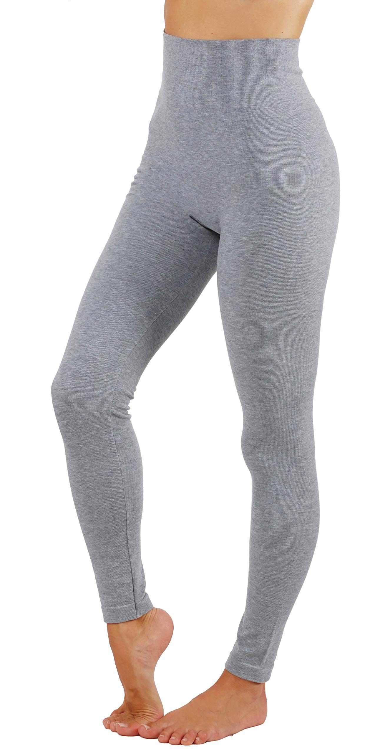 Women's Leggings Soft Basic Coton Blend Solid Color Yoga Pants Wide Waistband (S/M US 2-6, YG010-L,Gry)