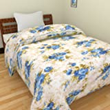 SS Sales Blue Floral Ac Single Microfiber Blanket (54 X 84 Inches, Multicolor)