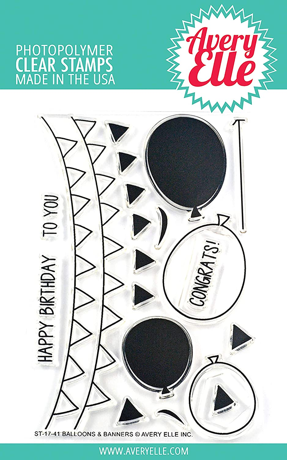 Avery Elle Balloons /& Banners Clear Stamp Set 4X6