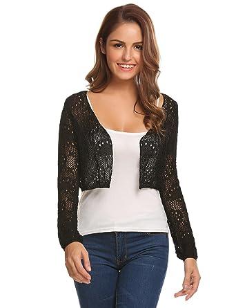 dfa2b0afa512f4 ELESOL Ladies New Crochet Knitted Bolero Shrug Long Sleeve Open Sweater  Crop Cardigan Black/S