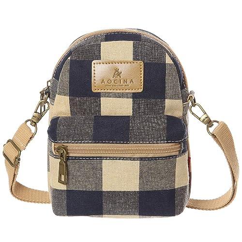 AOCINA Small Crossbody Bag Cell Phone Purse Pouch Mini Shoulder Bag(Blue- Khaki) ae44ef2628893