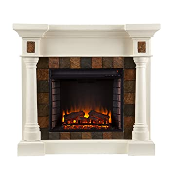 Southern Enterprises Carrington Faux Slate Convertible Electric Fireplace,  Ivory Finish