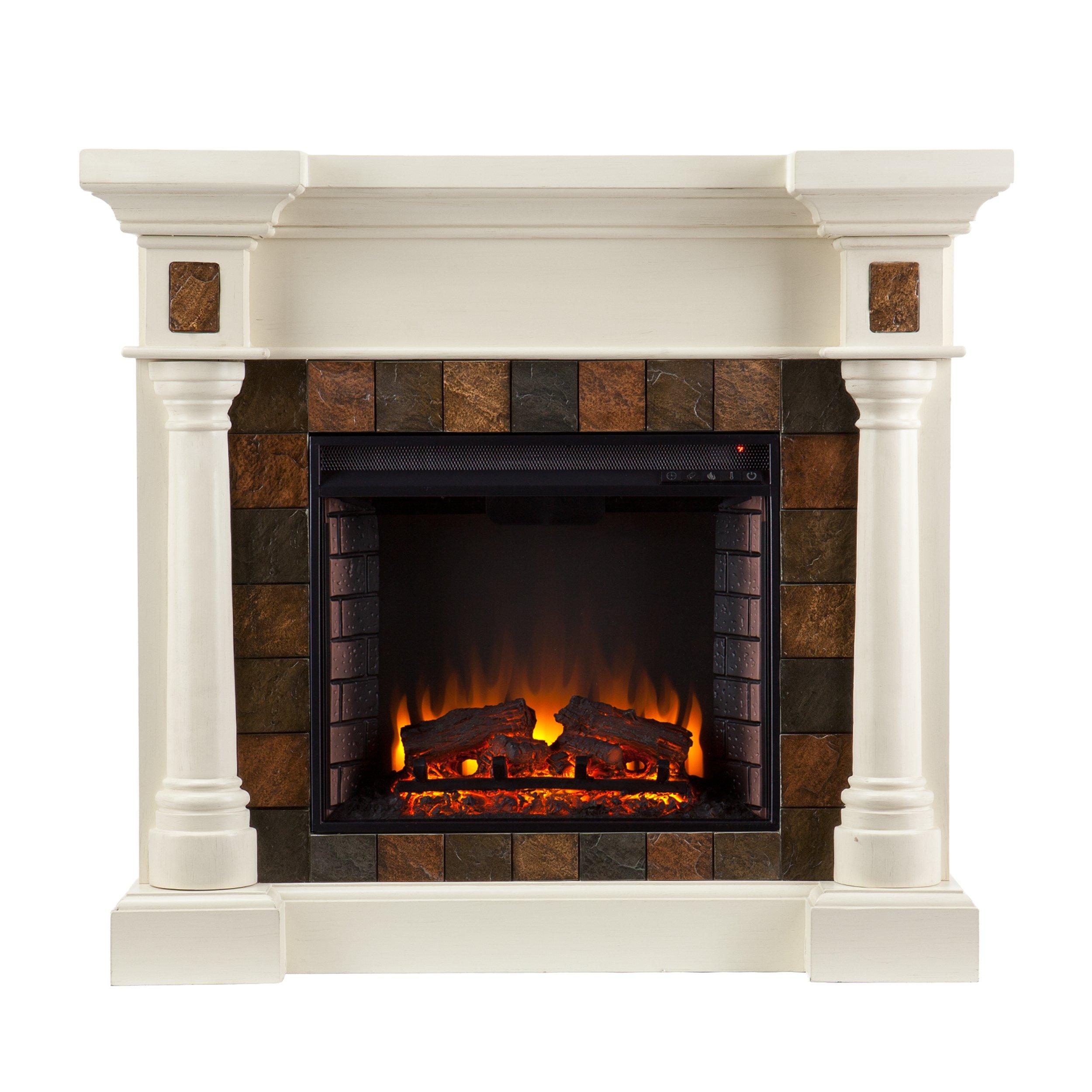 Southern Enterprises Carrington Faux Slate Convertible Electric Fireplace, Ivory Finish