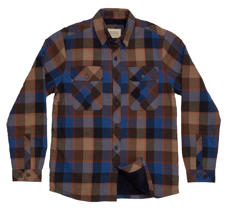 Boston Traders Men's Plush-Lined Flannel Shirt Jacket, Large, Shiitake by Boston Traders