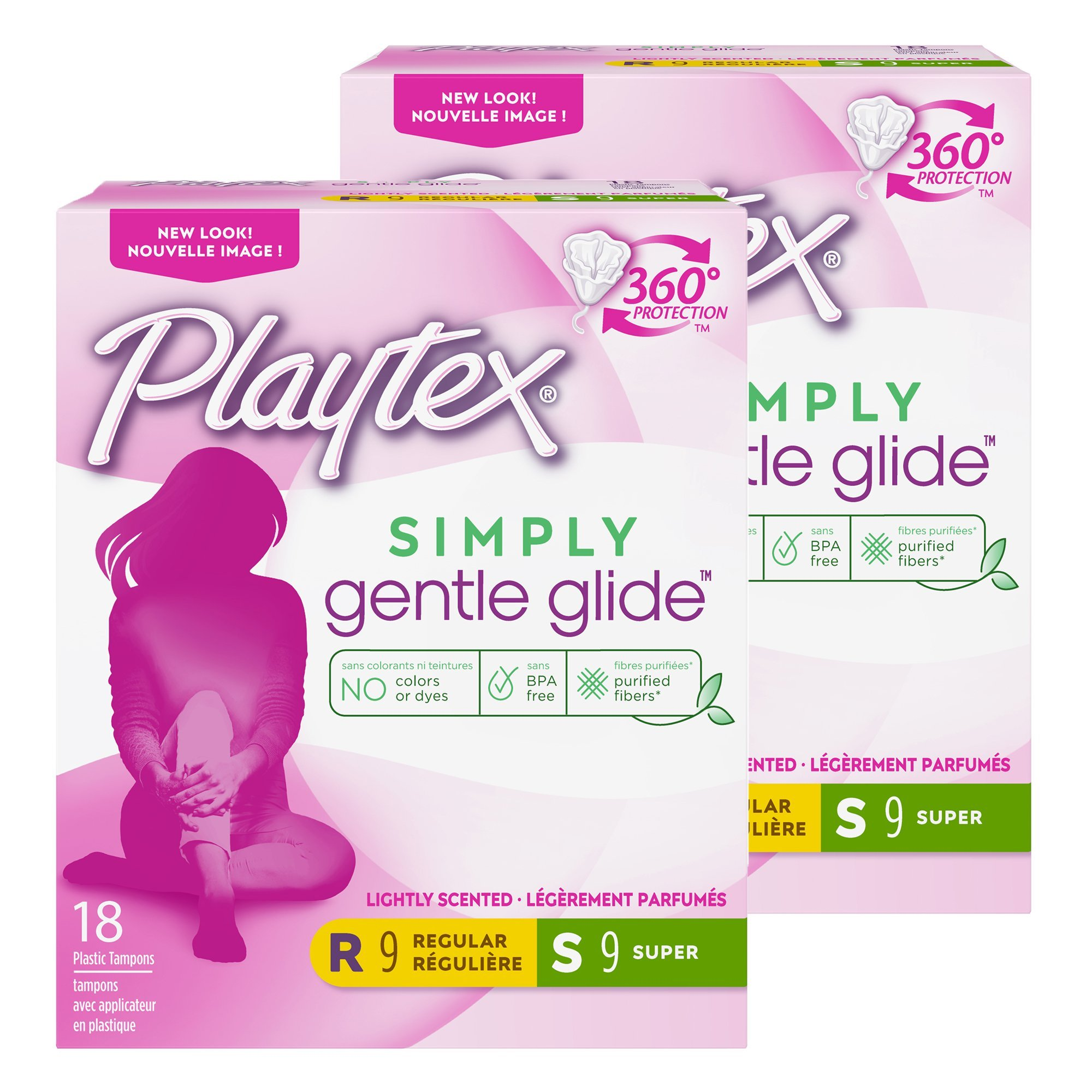 Playtex Gentle Glide Tampons with Triple Layer Protection, Regular and Super Multi-Pack, Fresh Scent - 18 Count (Pack of 2)