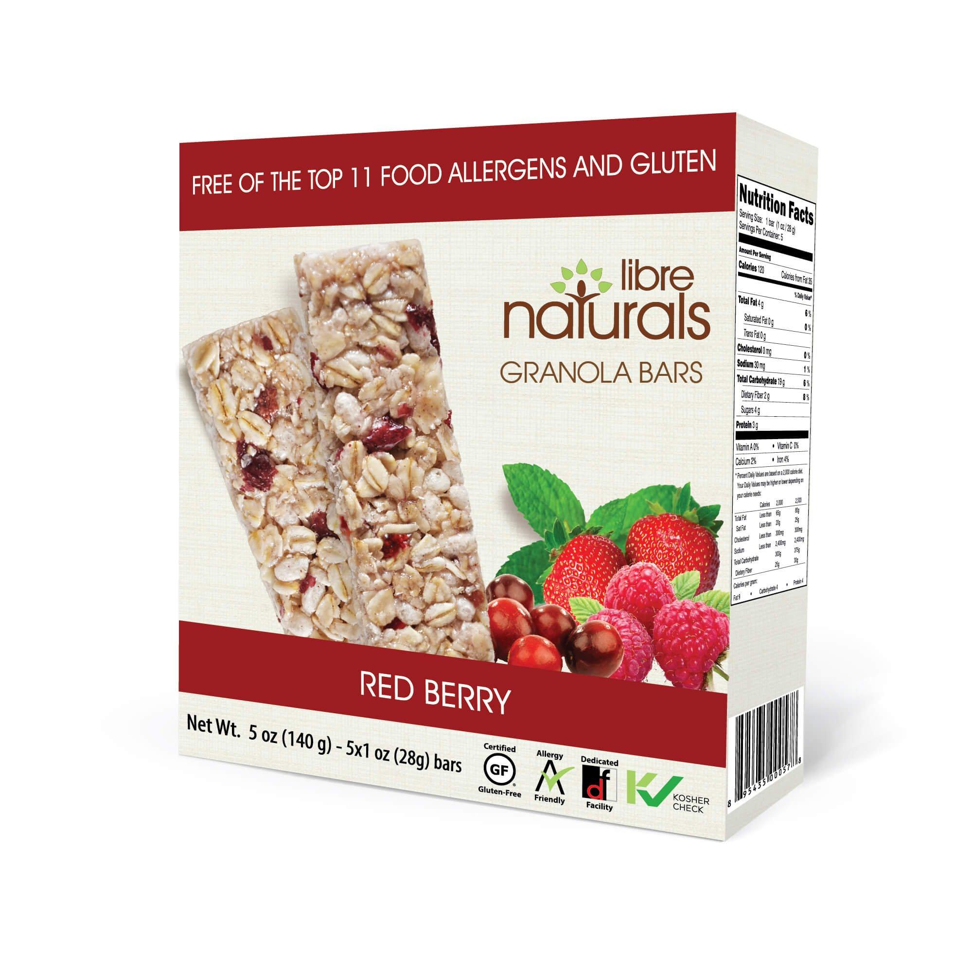 Nut Free, Gluten Free >> Red Berry Vegan Granola Bar - Libre Naturals, 28 gram, 5 pack x 6 (30 Bars)