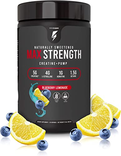 Inno Supps Max Strength – Advanced Creatine Pump Booster, Creapure 5g, HMB 500mg, L-Citruline 4g, No Artificial Sweeteners, Keto Friendly, Vegan, Non-GMO, Gluten Free, Soy Free Blueberry Lemonade