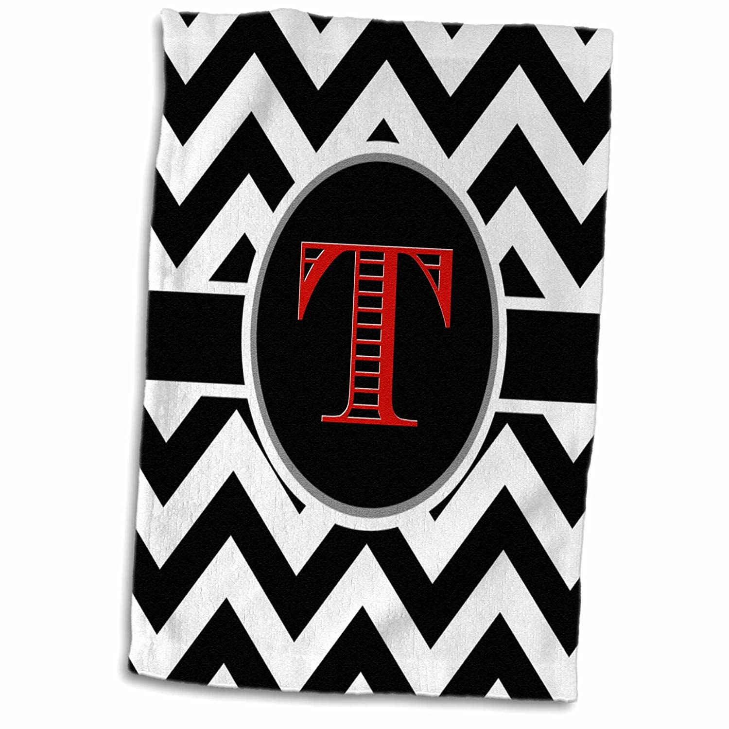 Multicolor 15 x 22 3D Rose Black and White Chevron Monogram Red Initial T Hand Towel