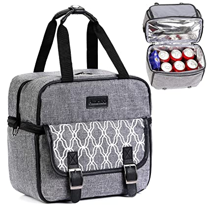 250ffacb2e4a Lunch Bag Double Layer Leakproof Insulated Lunch Box AmHoo Waterproof Linen  Polyester Thermal Lunch Cooler Tote Bag with Strongest YKK Zipper for ...