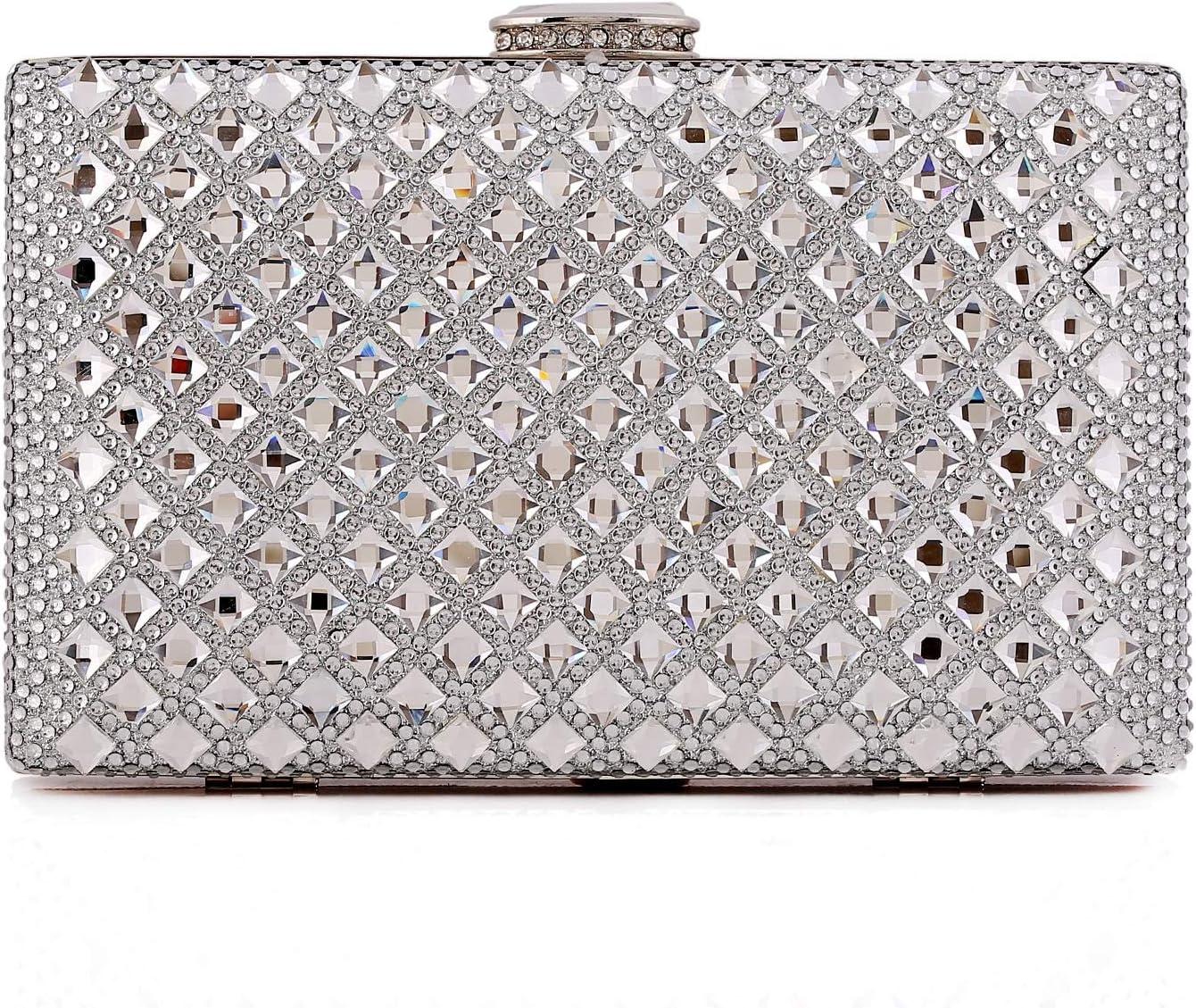 Color : Silver MATCHANT Handbag Tide Bag Luxury Diamond Shiny Clutch Dress Evening Party Bag Gold,Silver,Black