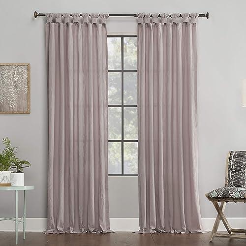 Archaeo Washed 100 Cotton Twist Tab Curtain, 52 x 95 Panel, Rose Quartz Pink