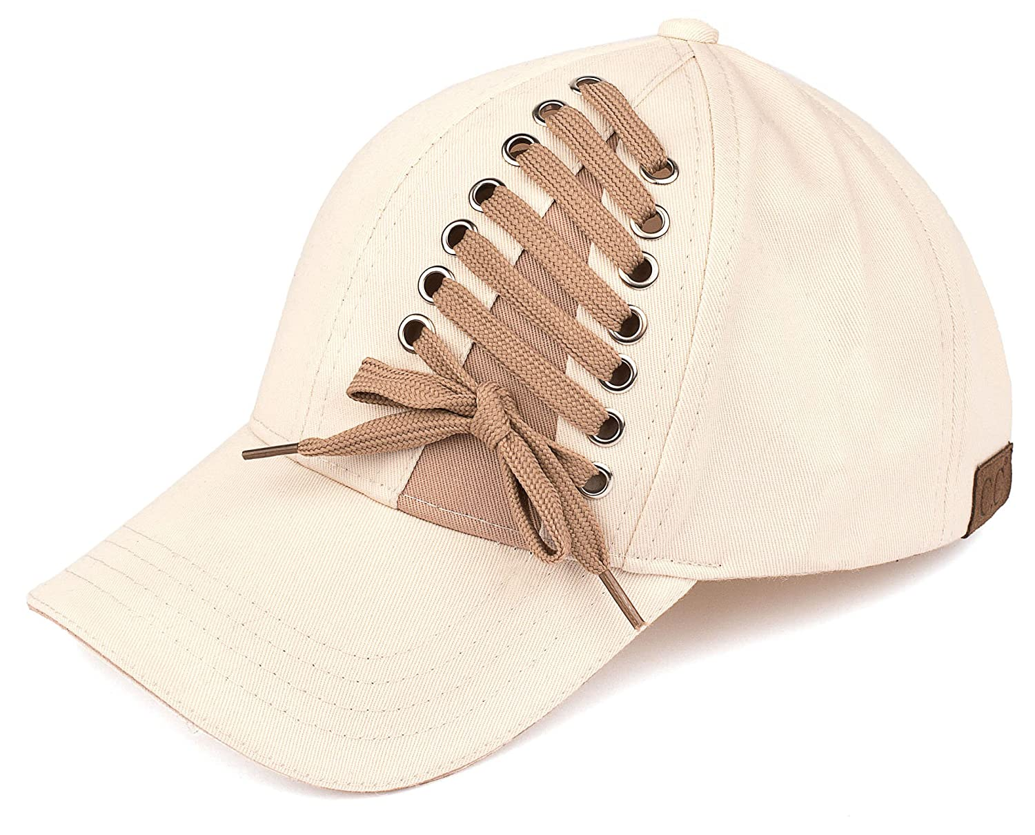 Funky Junque Women s Baseball Cap C.C Tied Shoe Lace up Velcro Closure Hat f47f35d676d