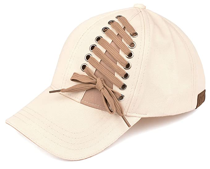 968f9632241 Amazon.com  H-6715-60 Funky Junque Lace Up Baseball Cap - Beige ...