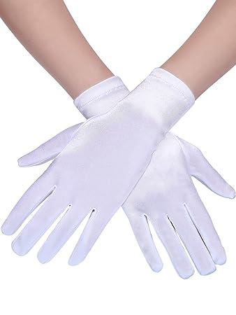 820d26827d146 3 Paar Damen Kurze Satin Handschuhe Handgelenk Länge Handschuhe Kleid  Handschuhe Opera Handschuhe für Party (Weiß)