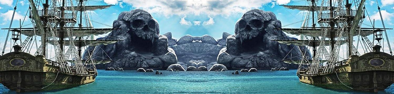 海賊島の景色 写真背景 ステージスカルマウンテンセーリング船 ビーチ 冒険テーマ スタジオ背景 写真 34x8フィート   B07JX717HG