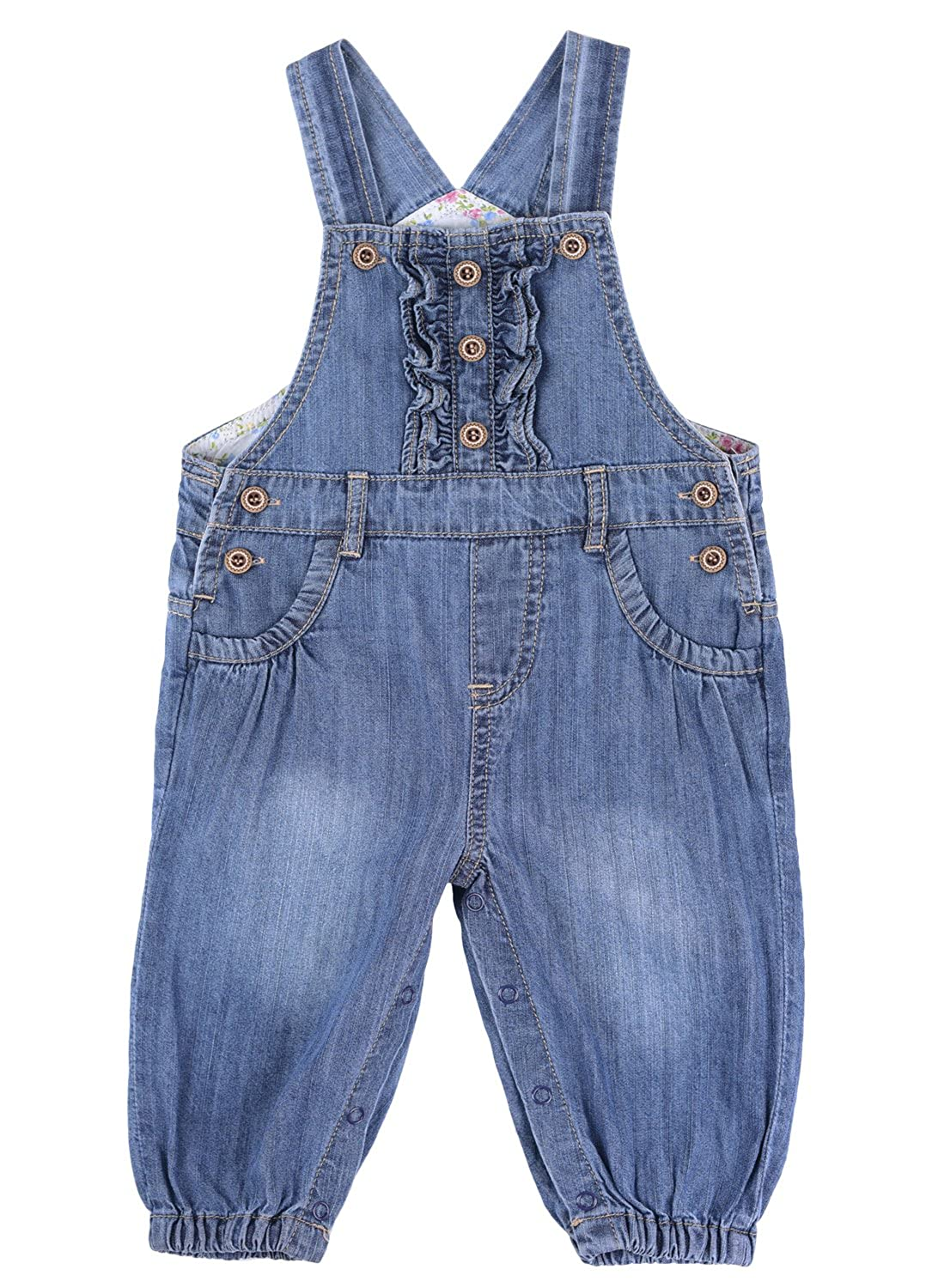 BUYIIT Baby& Little Girls Ruffles Dungarees Washed Soft Denim Bib Overalls Jean Outfit