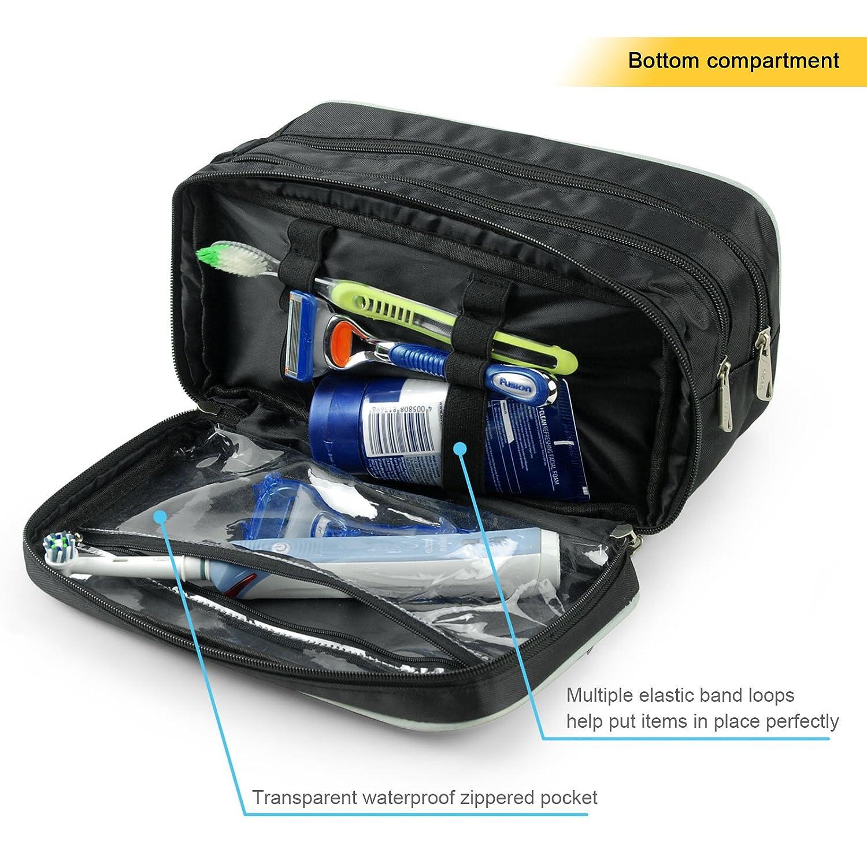 Becko Travel Toiletry Dopp Kit Travel Shaving Grooming Bag with Carry Handle for Men and Women Black