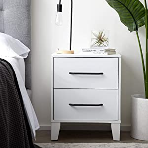 Everlane Home Daley Two Drawer End Table-Modern Design-Easy Assembly Nightstand, White