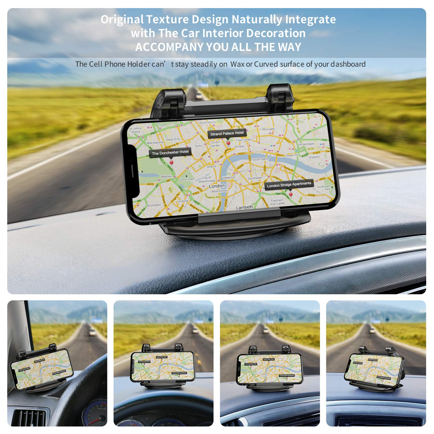 Universal 360 Degree Rotatable Dashboard Car Phone Mounts Vertically//Horizontally Compatible with iPhone X XS Max 8 7 6 5 Plus Cell Phone Holder for Car GPS and Other 3-6.8 Inch Smartphon Kapebow CPM11