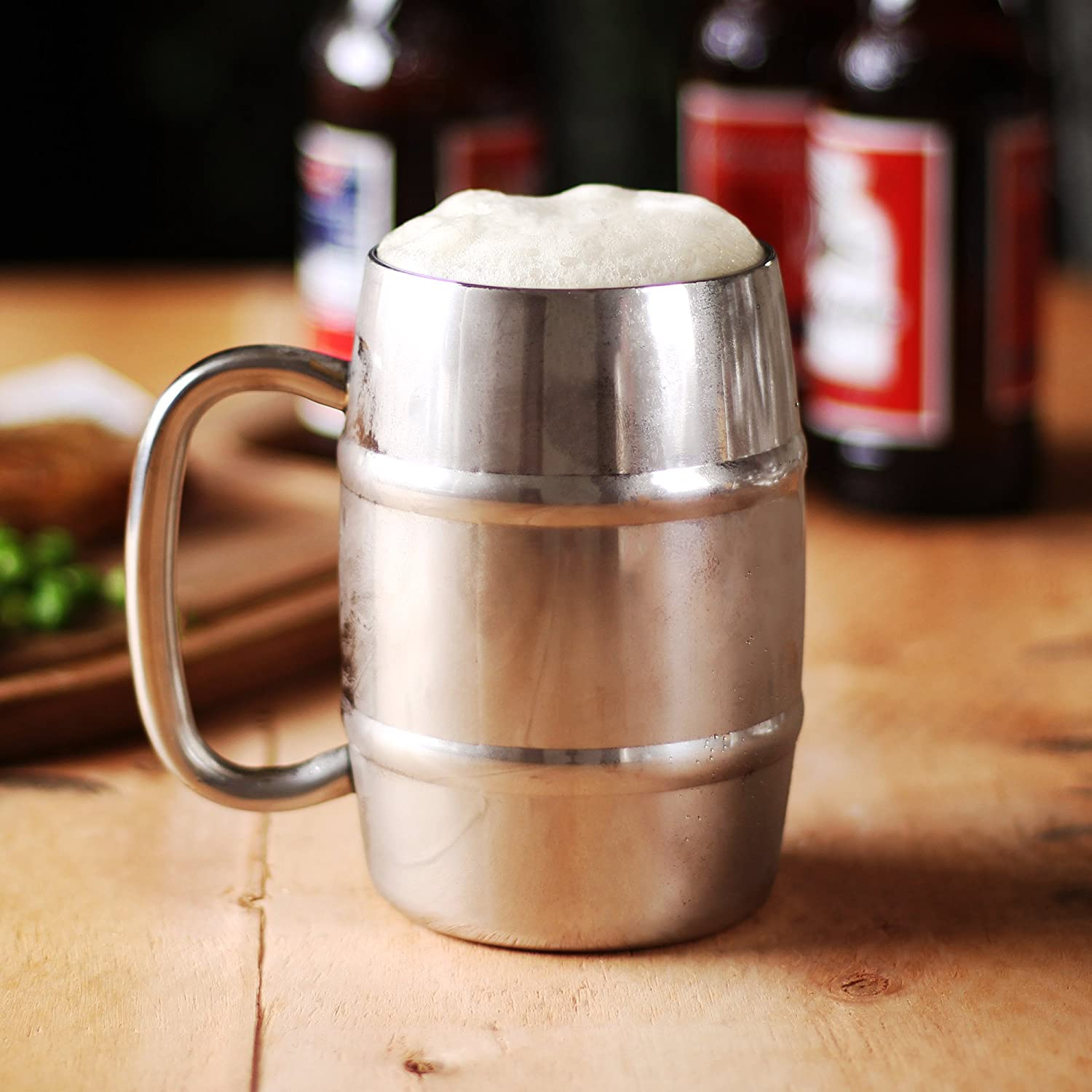 bar@drinkstuff Stainless Steel Beer Barrel Mug 14oz/400ml - Gift Boxed Insulated Beer Tankard