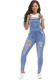 c8e48726a71b POPTIME Women s Jeans Jumpsuit Long Denim Ripped Distressed Trousers  Overalls Strap Jeans Jumpsuits