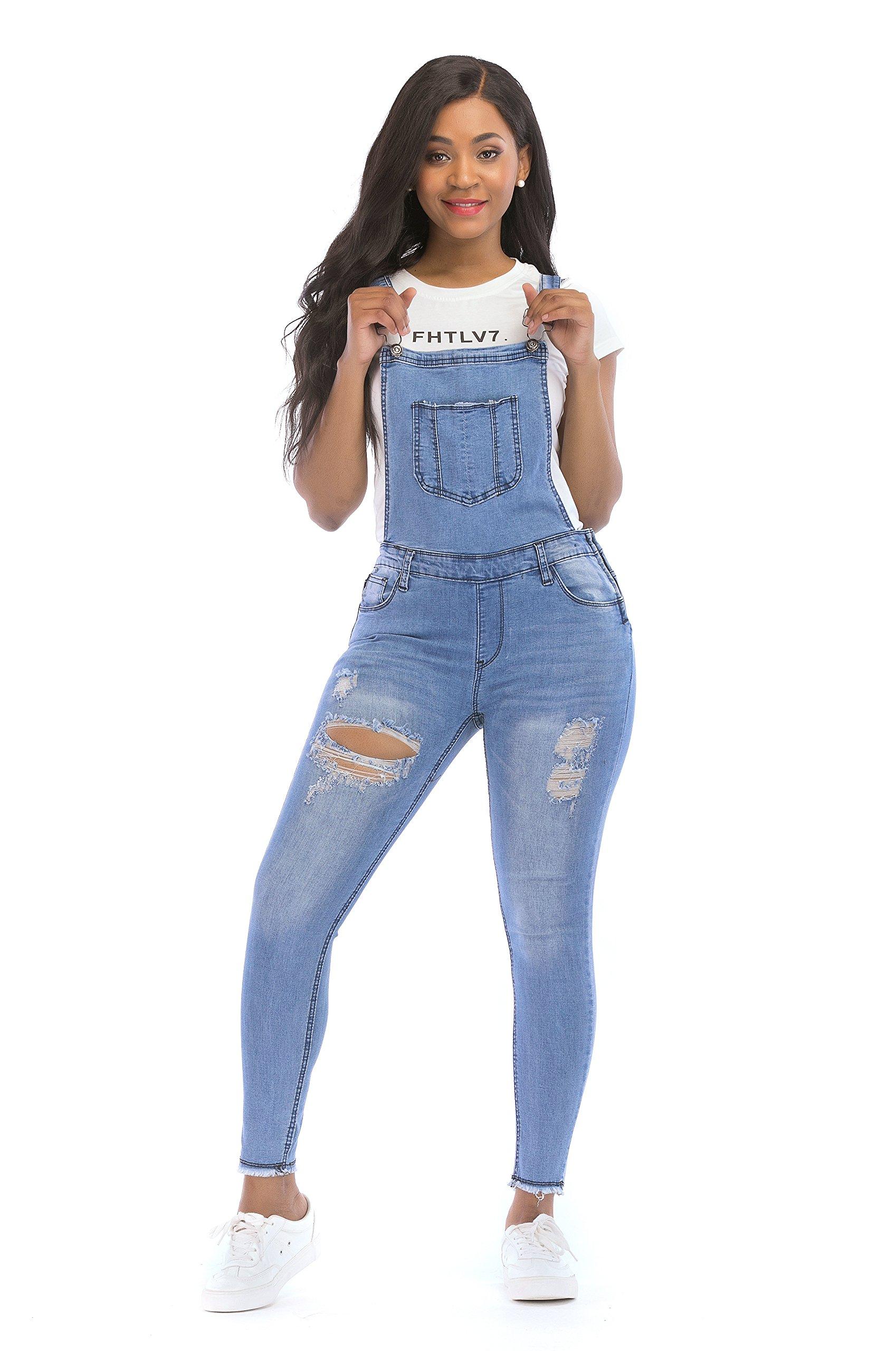 POPTIME Women's Jeans Jumpsuit Long Denim Ripped Distressed Trousers Overalls Strap Jeans Jumpsuits (X-Large, Blue)