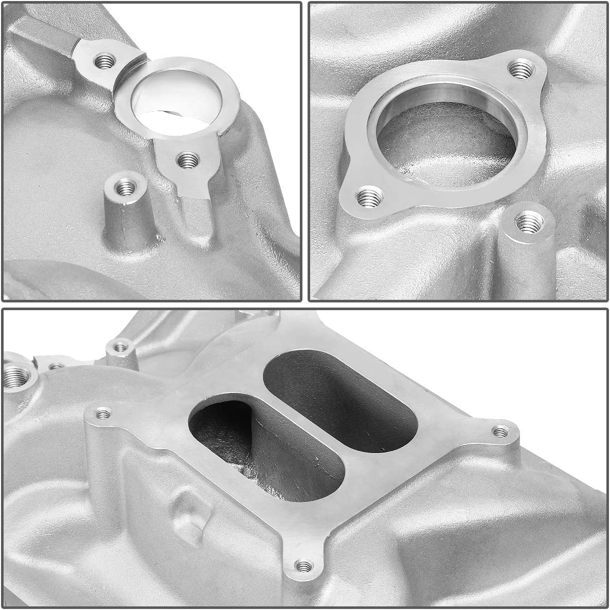 DNA MOTORING Metallic LEPOW-009 Dual Plane Aluminum Intake Manifold Assembly for 96-02 Chevy SBC 5.0L 5.7L