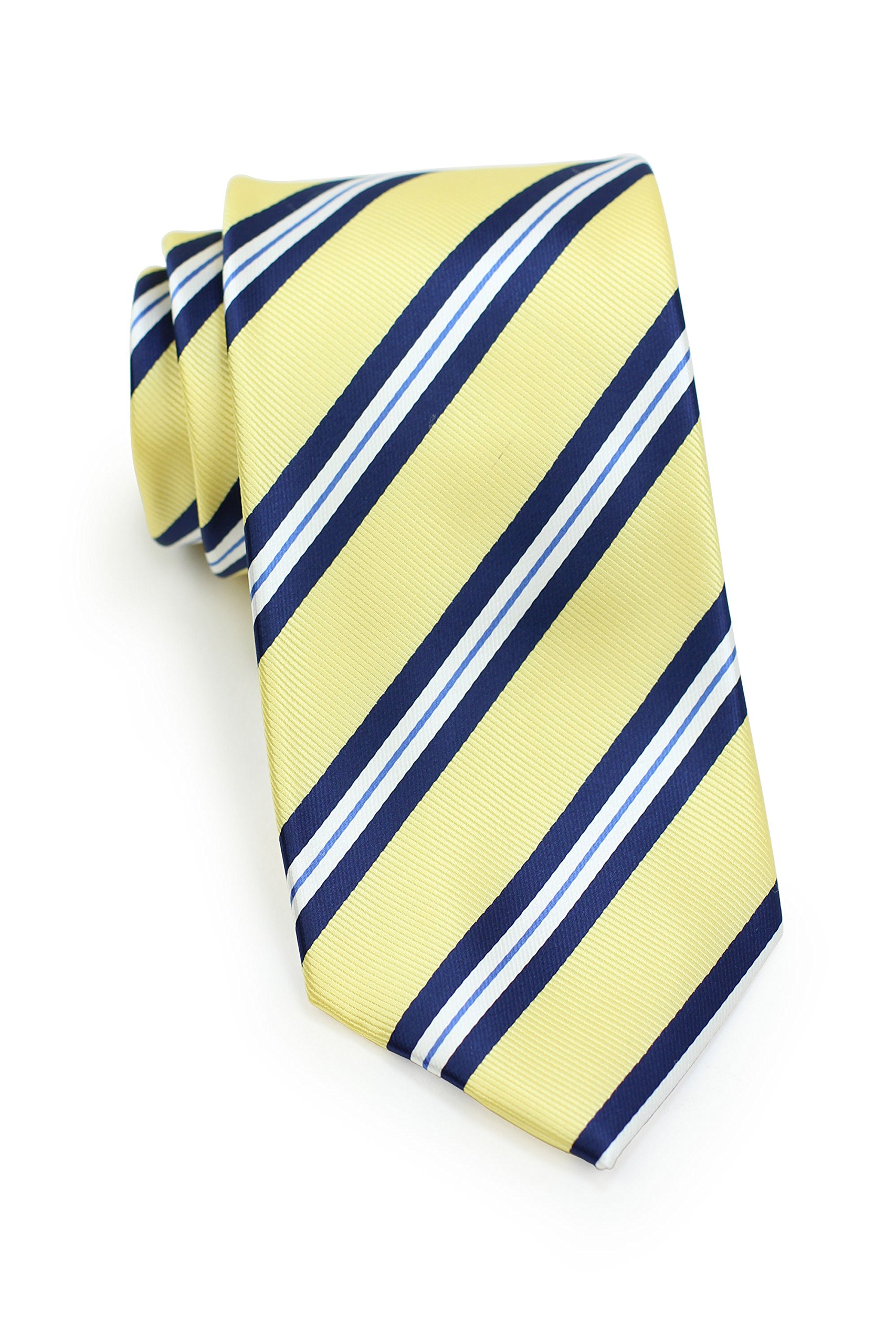 Bows-N-Ties Men's Necktie Preppy Repp Striped Microfiber Satin Tie 3.1 Inches (Pastel Yellow and Navy)