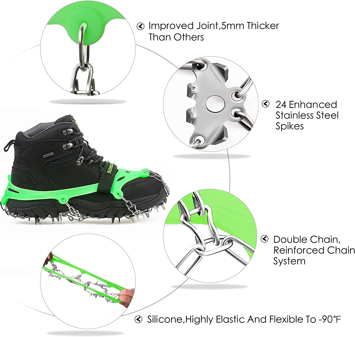 EnergeticSky 24 Spikes Crampons Ice Cleats Traction Snow Grips for Boots Shoes,Anti-Slip Stainless Steel Spikes,Microspikes for Hiking Fishing Walking Climbing Jogging Mountaineering.