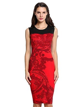 f9106f9637ba2 eshion Women Striped Sleeveless Wear to Work Office Pencil Dress (S, Red)
