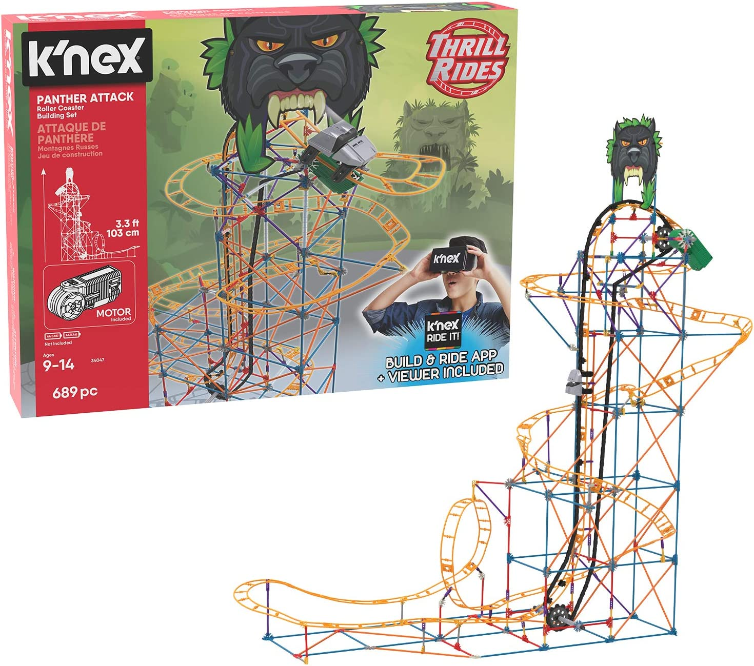Panther Attack Roller Coaster Building Set with Ride It!App K/'NEX Thrill Rides