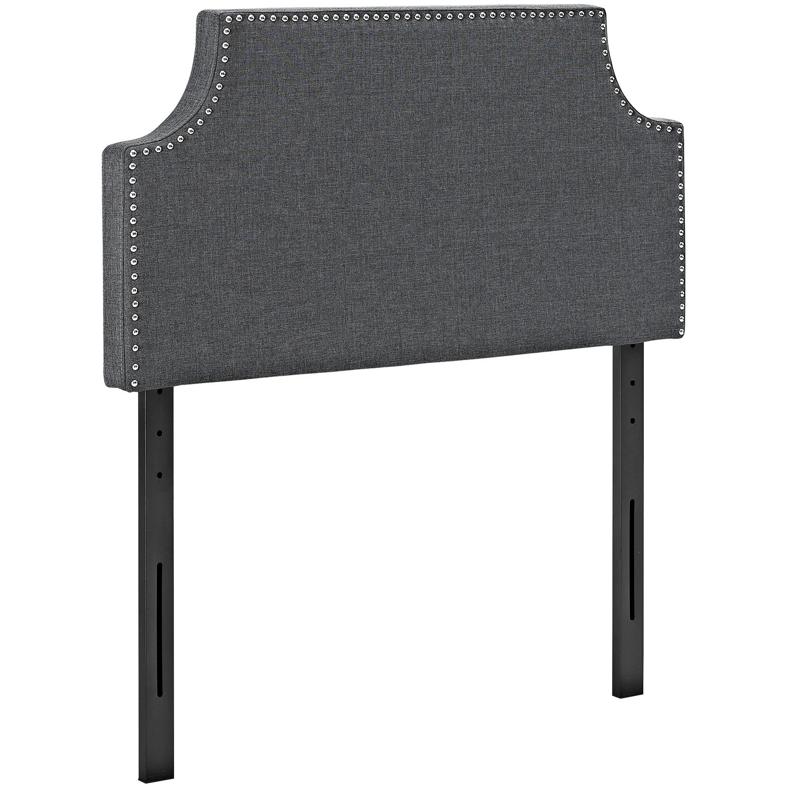 Modway Laura Linen Fabric Upholstered Twin Size Headboard with Cut-Out Edges and Nailhead Trim in Gray