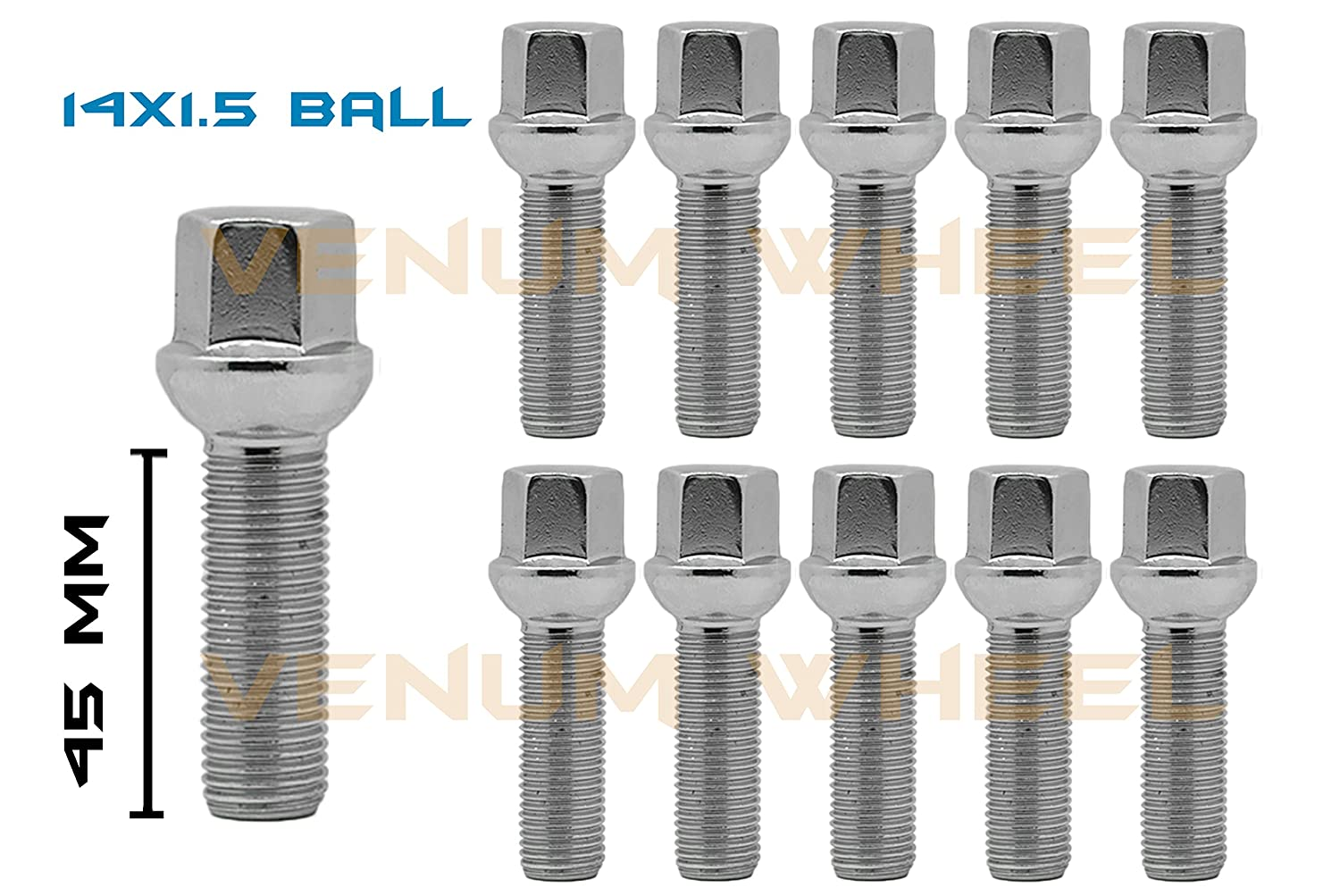 10 Pc 14x1.5 Ball Chrome Lug Bolts 45mm Shank Extended Length 17mm Hex Fits Mercedes Benz Audi Volkswagen Tiguan Touareg W216 W221 W164 VENUM WHEEL ACCESSORIES