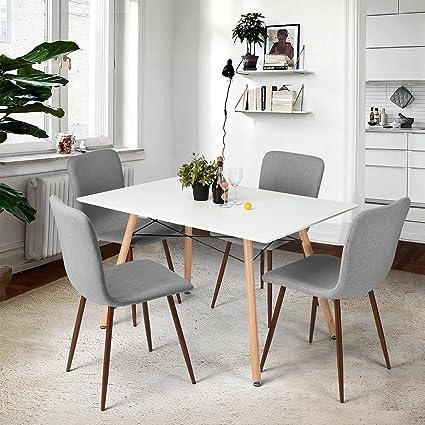 Fanilife, 4 sedie imbottite e rivestite in tessuto, con gambe in metallo  robusto; sedie per sala da pranzo e cucina, senza braccioli Grey