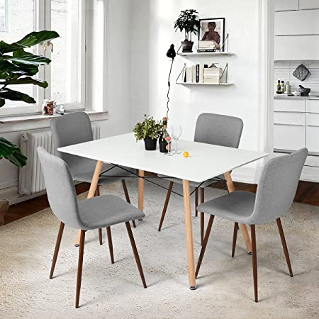Coavas Dining Chairs Fabric Cushion Kitchen Chairs With Sturdy Metal Legs  With Leg Floor Protectors For