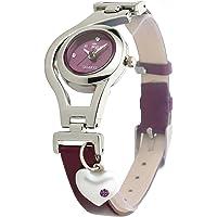 Dk Heart Pearl Dangle Silver Case Purpal Leather Strap Analogue Purple Dial Wrist Watch For Girls - Womens (Dk1207)