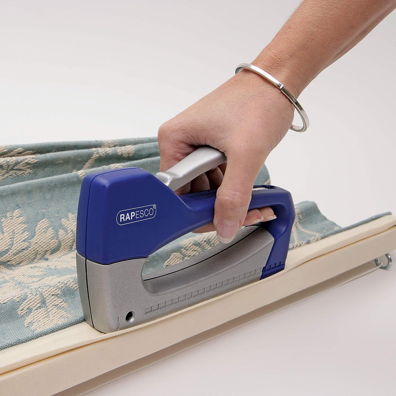 Materiale: Metallo//ABS Usa Punti 13 e 53//4-8mm Colore: Blue//Argento Rapesco Fissatrice Manuale T8-Lite Duo