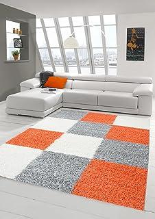 Shaggy Teppich Hochflor Langflor Wohnzimmer Gemustert In Karo Design Orange Grau Cream Grsse 120x170